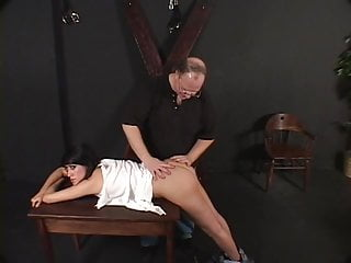 Bend over spanked - Hot brunette bends over for a spanking session