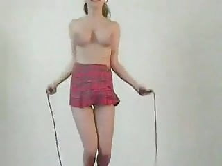 Jump roping naked - Big tit and a jump rope