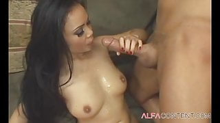 Sexy Asian brunette babe with great body
