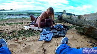 Cuckolding my husband with a BBC on a public beach!