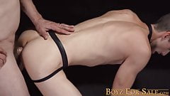 Submissive twink impaled on fat cock raw after sucking it