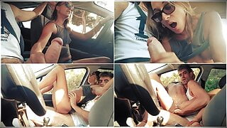 Couple Handjob while driving, Blowjob and Sex in the Car