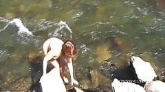Pantyhose in the river