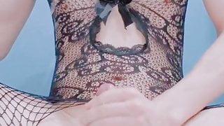 Japanese crossdresser cumshot in sexy fishnet lingerie