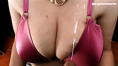 Handjob - Video requesting: Grope wife Boobs Cum on Satin Br