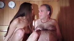 Sugar daddy fucks cute girl in sauna