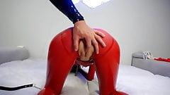 Masturbation and cum in full rubber