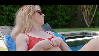 Stunning milf lisa lays hand on pool boy
