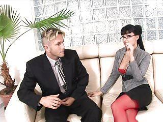 Open legs lingerie - Stunning brunette in red opens her legs for guys tool on the sofa