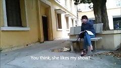 weird asian ladyboys pisses outdoors