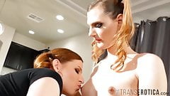 TRANSEROTICA Jamie French Cums In Tgirl Mouth After Footfuck