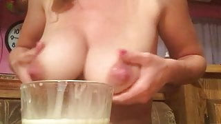 Lactating mom Beth relieving her breasts