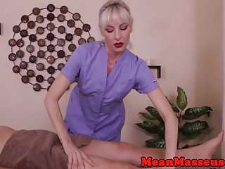 Femdom cbt stockings - Femdom cbt loving masseuse wanking off sub