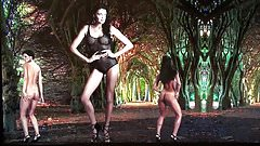 2 sexy girls art striptease & nude dance