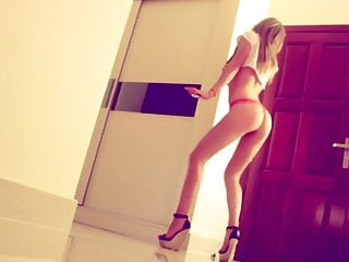 Thong fetish Sexy dance in red thong and high heels