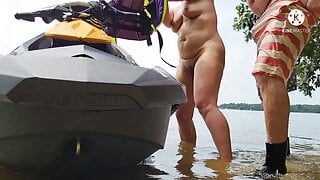 Jet skiing mom having sex in the river - ALMOST CAUGHT