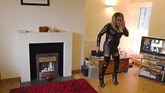 Aluna in Black PVC Wanking