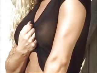 Shemale in black see-through lingerie Trish stratus in a black see-through shirt and thong