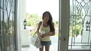 Brunette teen slut with fake tits is doing an audition