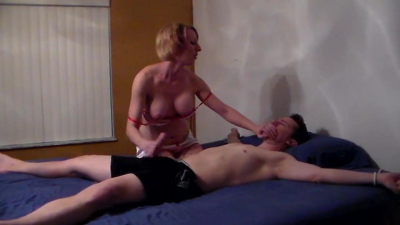 Tied up mature man gets deepthroat blowjob by aidra fox