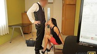 LOAN4K. Adventurous clerk lures a hottie into riding him