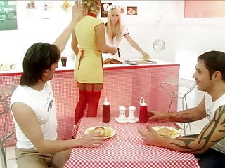 Guys in spandex fetish Saucy waitresses fuck two guys in a diner