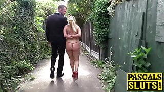 Busty British subslut Candice Banks hammered and eats cum