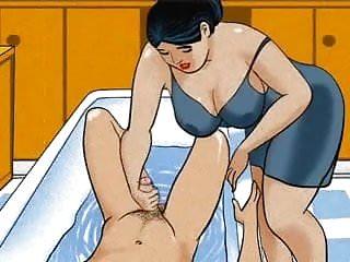 Anime boy pee Mature mom handjob dick her boy - animation