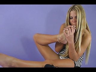 Dildo woman-owned women-owned - Skinny blonde woman loves her own feet