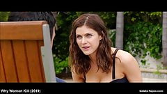 celebrity Alexandra Daddario sexy and wet bikini video