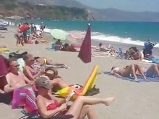 In that pokadot bikini girl Yellow bikini girl masturbating on the beach