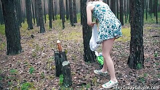 Tiffany walked in the woods found a dildo and fucked him