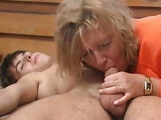 Mature fucks - Blonde mature fucks young boy