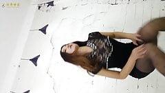 Asian girl dance in pantyhose miniskirt and heels 1