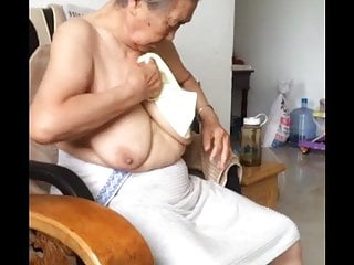Bathing after adult circumcision Asian 80 granny after bath