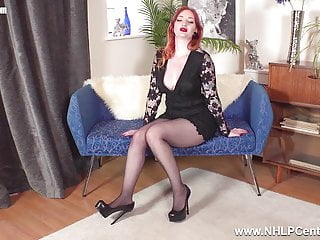 Seamless pantyhose video Horny big tits redhead wanks off inside seamless pantyhose