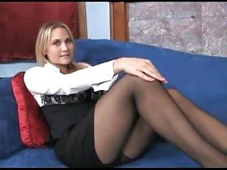 Busty pantyhose blonde Busty blonde milf teases in sheer black pantyhose