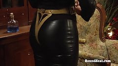 Dom Lesbian Madame Uses Whip And Strapon To Humiliate Slaves