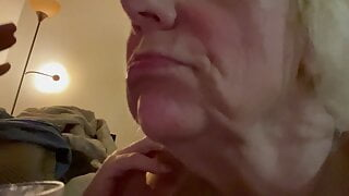 Granny gets cum in mouth and spits in a shot No.3