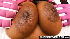 Seductive Ebony Bomb Shell Giant Nipples Big Areolas Bosom