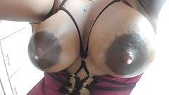 Big hanging lactating Latina tits leaking