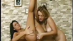 Russian babe Krista enjoying lesbian anal fun