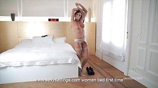 Lia Taylor tied legs spread