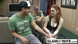 Hot redhead gets pounded while he watches