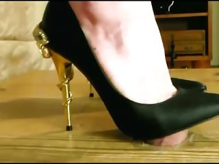 Metal cock ball ring - Super sexy metal heels torture his cock for my amusment
