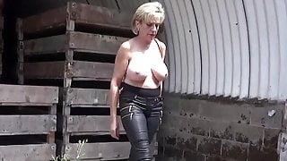 Lady Sonia does nude striptease in public