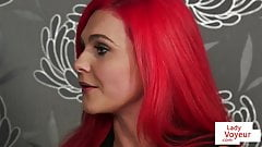 Naughty redhead Britt teasing during JOI