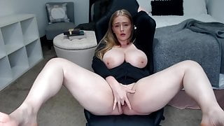 Chubby girl spreads her legs and shows her charms