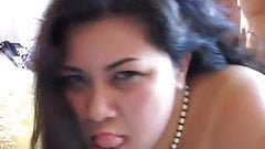 Very sexy asian BBW with lovely big tits enjoys a facial