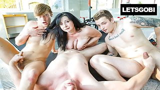 My first Bisex with Stepmom, my cousin and a voyeur